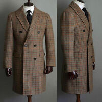 Men's Wool Check Long Overcoat Double-breasted Houndstooth Formal Blazer Jacket