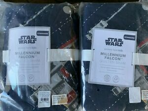 NWT 2 POTTERY BARN KIDS STAR WARS MILLENNIUM FALCON QUILTED STANDARD SHAMS