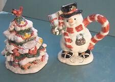 Chunky The Snowman & Tree Sugar and Creamer Fitz Floyd Omnibus Ceramic 1994 Nos