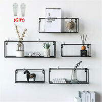 Wall-mounted Hanging Shelf Storage Shelf Holder Rack Iron Home Cafe Decor Craft