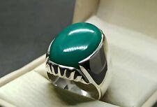 Natural Hussaini Feroza Sterling Silver 925 Handmade Green Turquoise Mens Ring