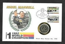 Isle of Man 1993 Nigel Mansell £2 two pound coin on 1992 first day cover.