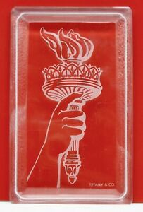 TIFFANY & CO. Crystal Glass Statue of Liberty Torch Trinket Box VAL ST. LAMBERT