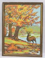 Vintage Framed Paint by Number PBN Stag and Autumn Foliage 1950s