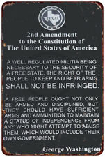 The 2nd Amendment George Washington Vintage Reproduction Metal Sign 8 x 12
