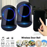 Waterproof Wireless Doorbell 45 Chime With LED Flash 2 Receivers + 1 Transmitter