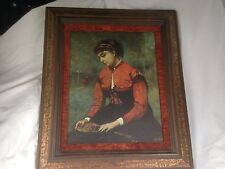 """JEAN-BAPTISTE CAMILLE COROT """"Young Woman in Red"""" Oil Painting Framed Repro"""