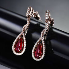 HUCHE Rose Gold Filled Red Crystal Ruby Dangle Drop Women Party Banquet Earrings