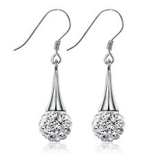 925 Silver Crystal Ball Pendant Earrings Women Fashion Jewelry Christmas Gift