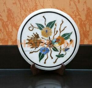"""12"""" White Marble Round Coffee Table Top Mosaic Floral Inlay Bedroom Decors W565"""