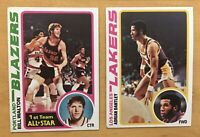 Bill Walton & Adrian Dantley 1978-79 Topps Basketball Cards