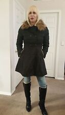 Womens Fox Fur Collar Long Quilted Down filled Jacket Asian Size Large US S