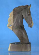 Hand Carved Wooden Horse Head Medium Bust - Western Statue Sculpture, Unique Art