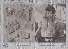 """Vintage Retro Tejer patrón 1940s WW11 P & B 848 10"""" Muñeca Ropa 3 capas"""