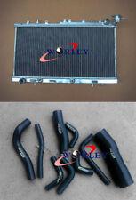 For Nissan N14 GTIR SR20DET Pulsar N15 AT/MT Aluminium Radiator + BLACK Hose