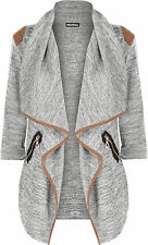 Womens Knitted Open Zip Pocket Long Sleeve Shoulder Top Ladies Cardigan Grey One Size 08-14