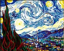 Diy oil painting paint number kit famous The Starry Night Van Gogh 16*20 inch.