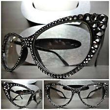 Women's VINTAGE CAT EYE Clear Lens EYE GLASSES FRAMES Silver Crystals Handmade