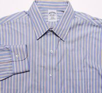 BROOKS BROTHERS Long Sleeve NON-IRON Dress Shirt Blue Yellow 15.5 32 Slim Fit