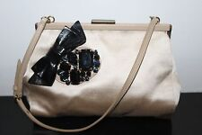 Authentic MIU MIU Prada Beige Satin Small Bag with  Crystal Details
