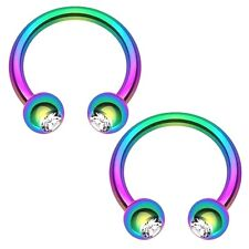 2 PCS 16G DOUBLE GEM RAINBOW TITANIUM HORSESHOE RING SEPTUM NOSE DAITH EAR HELIX