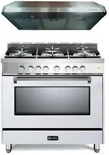 "Verona Prestige Vpfsgg365W 36"" All Gas 5 Burner Range Oven Hood Set White"