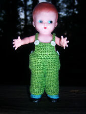 """Htf Adorable Boy Vtg knickerbocker 6"""" 50s rattle doll/display Crocheted Outfit"""