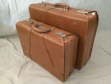 Vintage 1950s PAIR Skyway CLUBMAN SUNTAN Leather Suitcase Luggage Orig Boxes