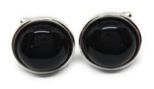 BLACK ONYX AND SILVER CUFFLINKS MANUFACTURERS DIRECT PRICING