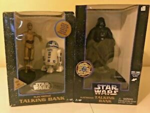 Two - 2 - VINTAGE STAR WARS ELECTRONIC TALKING BANKS -Darth&C3PO&R2D2