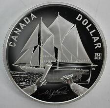 CANADA 2021 $1 100TH BLUENOSE CENTENNIAL 99.9% PROOF SILVER ONE DOLLAR COIN COA