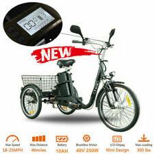 48v Electric Trike Tricycle 3 Wheeler cycle 250w 10ah Scooter Bike Ebike Black
