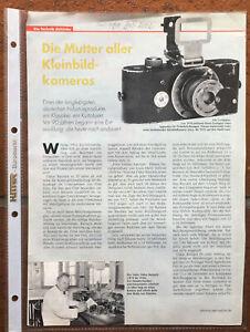 Leica Die Mutter aller Kleinbildkameras  - zweiseitiger Artikel aus Scope Juli 2