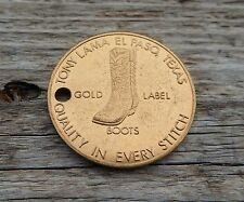 Vintage Advertising Tony Lama Cowboy Boot El Paso Texas Gold Coin Keychain