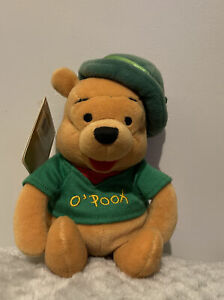 "DISNEY STORE 8"" WINNIE THE POOH ST PATRICK'S DAY 2001 BEANIE PLUSH SOFT TOY New"