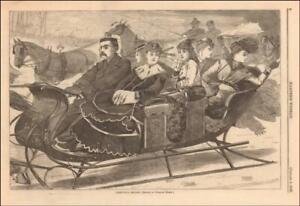 WINSLOW HOMER, CHRISTMAS SLEIGH RIDE, LADIES, BELLES, antique engraving 1869