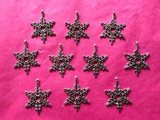 Tibetan Silver Snowflake Charms #1 - 10 per pack - Christmas and Seasons