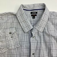 Apt 9 Button Up Shirt Mens XXL Gray Plaid Slim Fit Long Sleeve Casual