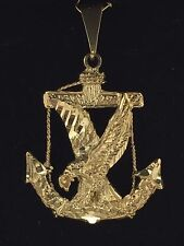 New Solid 14K Yellow Gold Diamond Cut Anchor Eagle Mariners Charm Pendant 5.7 g