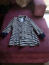 Valley Girl 3/4 Strip Navy Jacket RRP $39.95 Size XS
