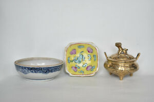 Antique Chinese 2 Porcelain Bowls Famille Rose, Brass Tripod Foo Incense Burner