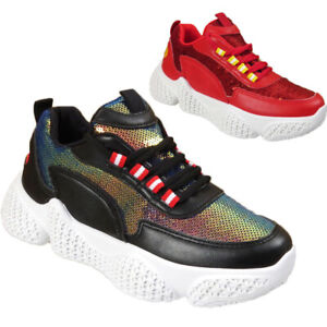 WOMENS CHUNKY SPARKLY LADIES SPORTS FASHION LACE UP PARTY SNEAKERS TRAINERS SHOE