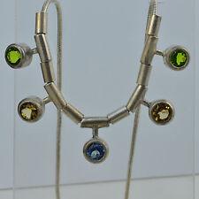 Handmade Vintage 925 Silver Necklace Genuine Blue Topaz, Citrine, Peridot