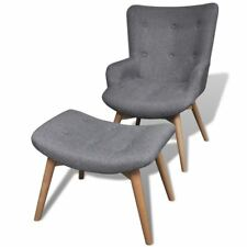 vidaXL Armchair and Foot Stool French Chair Bedroom Living Room Seat Set Gray
