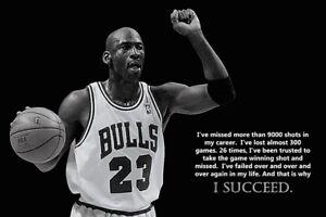 Michael Jordan Chicago Bulls  I Succeed Poster 36x24
