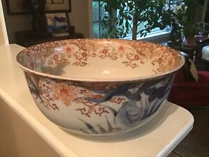 Antique Chinese Hand Painted BOWL gold gilt Birds Asian Art Pottery