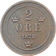 Sweden 2 Ore 1878 Oscar II KM#746 (5149)