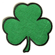 Embroidered 3 Leaf Clover Shamrock Iron on Sew on Biker Patch Badge