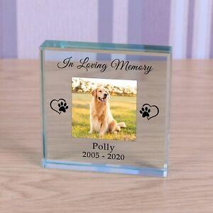 Personalised Glass Block Token Paw Prints Dog Cat Memorial In Loving Memory
