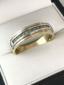 9ct Yellow & White Gold 5mm Wide Alexandrite Band Ring ~ Size S1/2